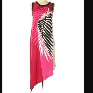 London Times Leaf Print Maxi Dress